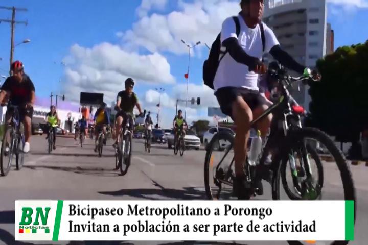Bicipaseo Metropolitano a Porongo se realiza este sábado e invitan a población a ser parte