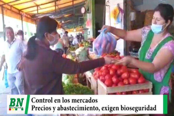 Municipio realiza control de precios y abastecimiento en mercados, exigen bioseguridad a usuarios