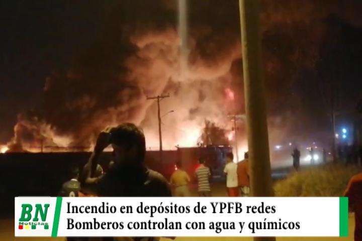 Depósito de YPFB redes se incendia en el Parque Industrial y bomberos logra controlar las llamas