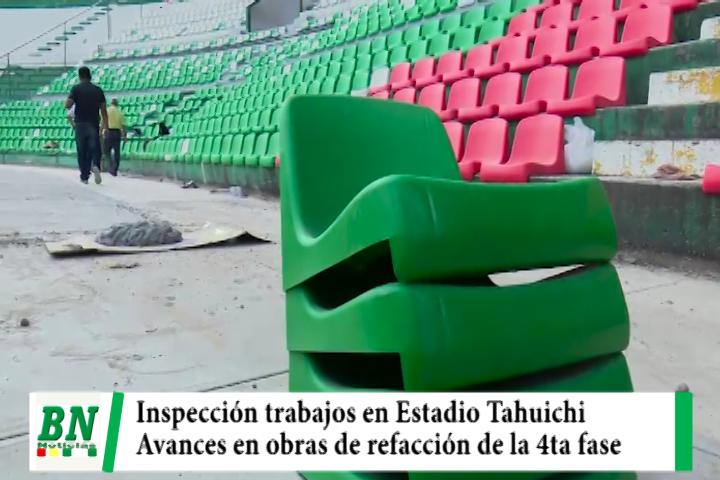 Inspeccionan las obras de refacción en su 4ta fase en el Estadio Tahuichi