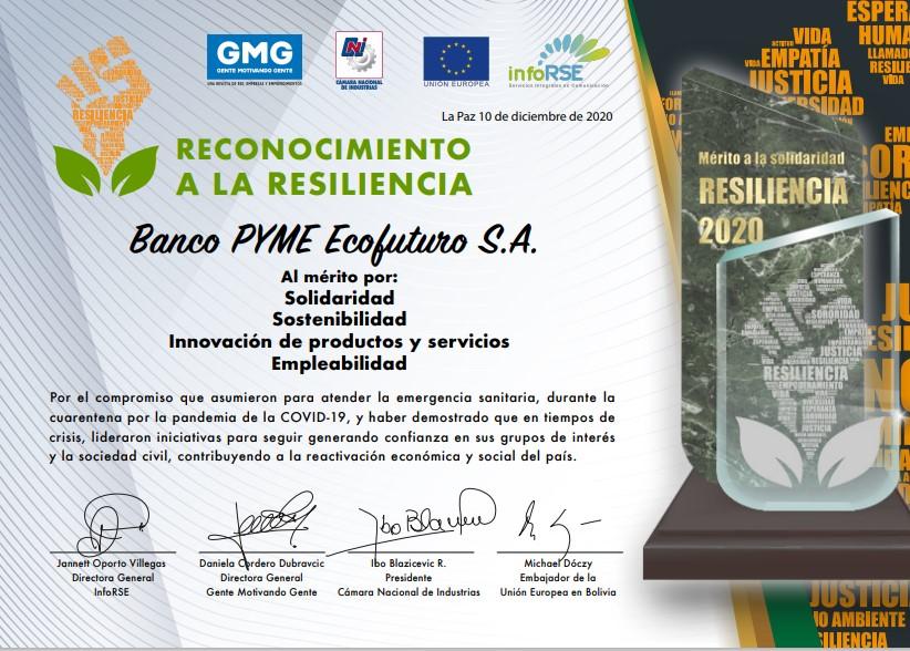 BANCO PYME ECOFUTURO RECIBE EL RECONOCIMIENTOA LA RESILIENCIA DURANTE LA PANDEMIA DEL COVID-19