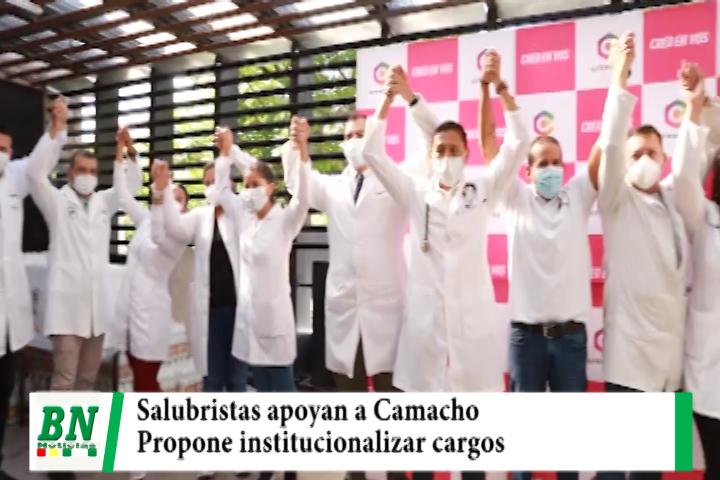 Campaña Creemos, Camacho recibe apoyo de salubristas y les asegura que institucionalizará los cargos en el sector