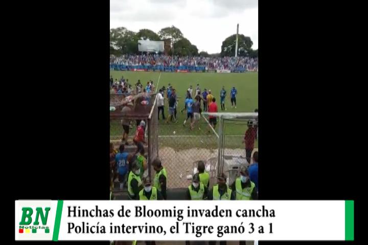 Hinchas de Blooming invaden la cancha tras perder su equipo con el Tigre por 3 a 1, policía intervino