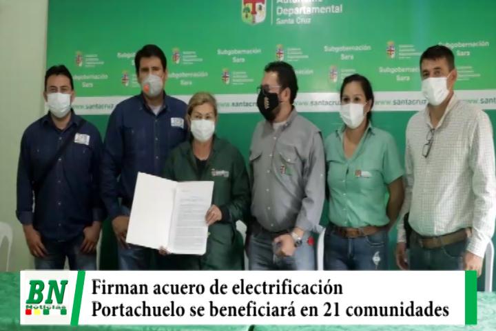 Firman acuerdo para electrificación en 21 comunidades de Portachuelo con luz de paneles solares