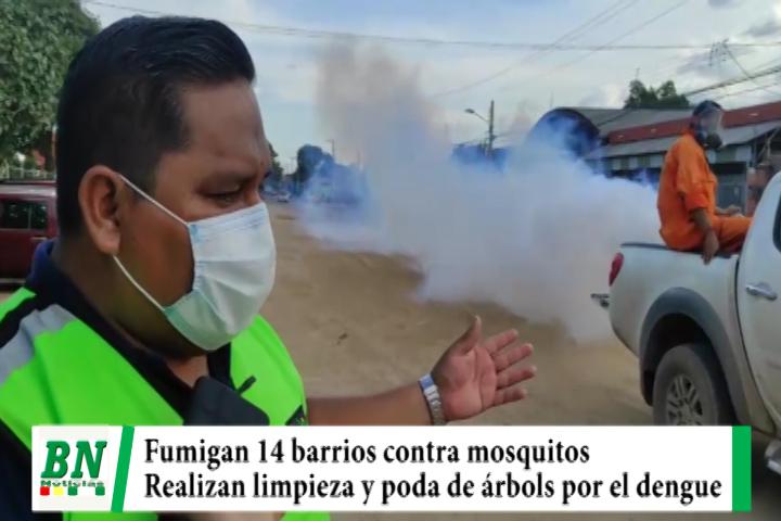 Fumigan 14 barrios contra el mosquito del dengue y realizan limpieza de calles y avenidas