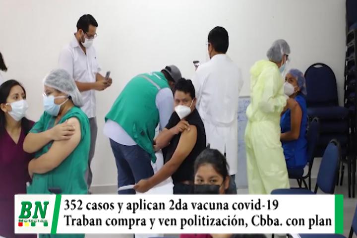 Alerta coronavirus, 352 casos y aplican segunda dosis a salubristas, denuncian trabas y ven politización, Cbba con plan