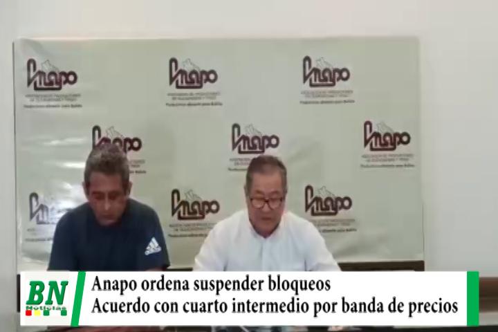 Anapo ordena suspender bloqueos tras acuerdo con el Gobierno por la banda de precios