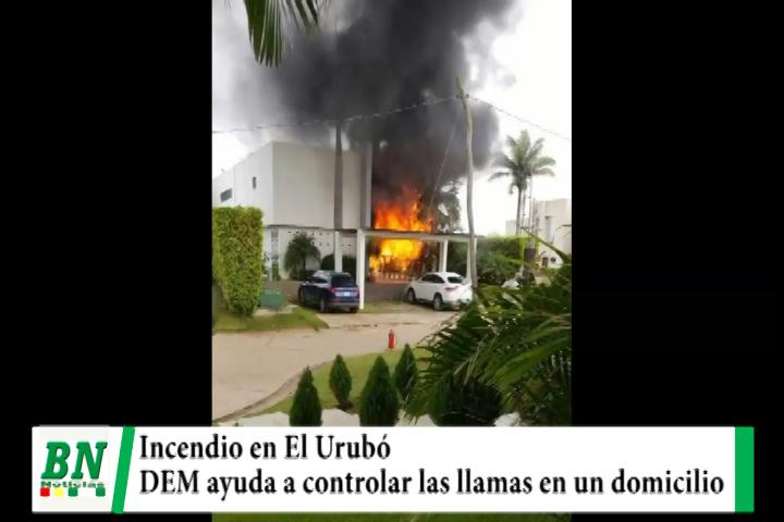 Incendio en un domicilio de El Urubó es controlado por bomberos del DEM y otros