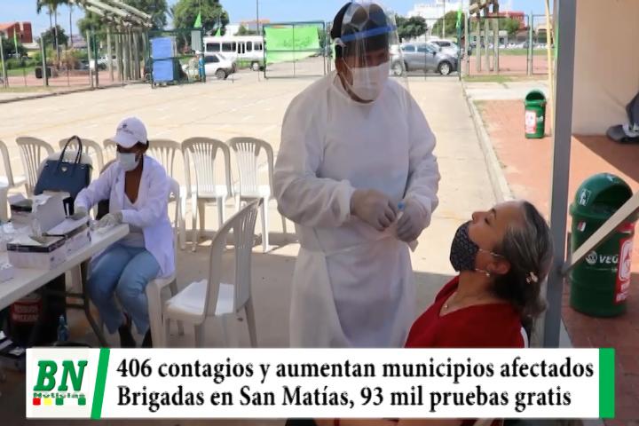 Alerta coronavirus, 406 contagios y municipios afectados, brigada a San Matías y en El Cambódromo realizaron 93 mil pruebas