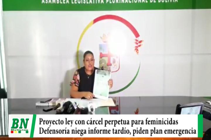 Proyecto de Ley con cadena perpetua para feminicidas, Defensoría niega informe tardío y piden plan de emergencia