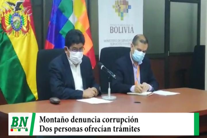 Ministro Montaño denuncia que dos personas cometían corrupción y fueron detenidas por la policía
