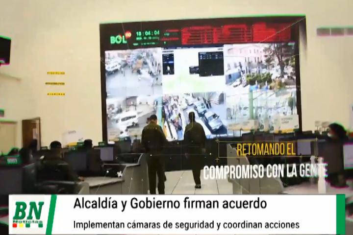 Gobierno y Alcaldía firman acuerdo por la seguridad ciudadana e implementarán cámaras y otros equipo