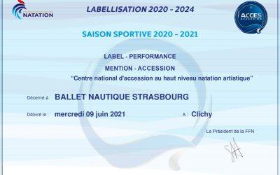Label Performance, mention Accession pour le BNS, Centre National d'Accession au Haut Niveau Natation Artistique