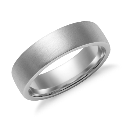 Matte Low Dome Comfort Fit Wedding Ring In 14k White Gold
