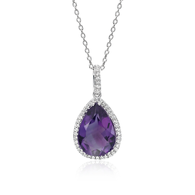 Amethyst Elegant Halo Pendant In Sterling Silver 14x9mm