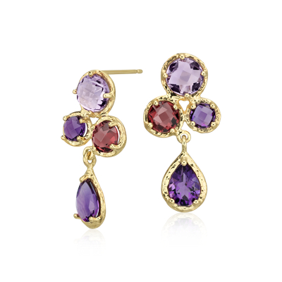 Lavender Amethyst And Rhodolite Garnet Drop Earrings In