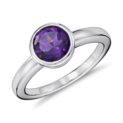 Amethyst Round Bezel Set Ring In Sterling Silver 7mm