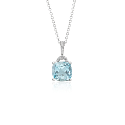 Aquamarine Cushion And Diamond Pendant In 14k White Gold