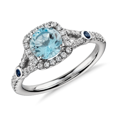 Aquamarine And Diamond Split Shank Halo Ring In 14k White