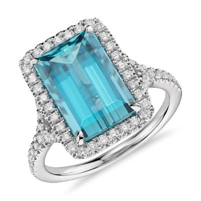 Aquamarine With Diamond Halo Ring In 18k White Gold 390 Ct Center Blue Nile