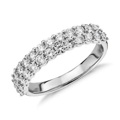 Aria Double Row Diamond Ring In 18k White Gold 115 Ct