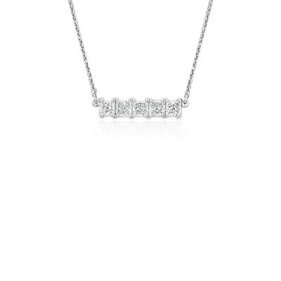 Blue Nile Signature Five Stone Princess Cut Diamond Bar Pendant In Platinum 3 4 Ct Tw Blue