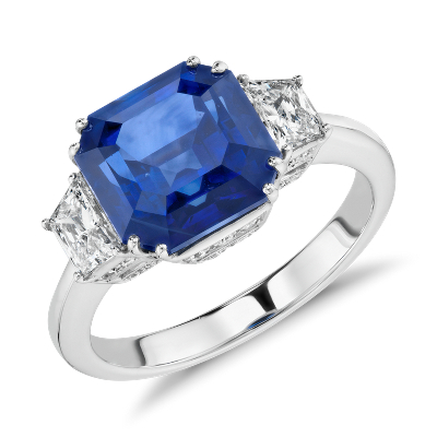 Blue Sapphire And Diamond Three Stone Ring In 18k White