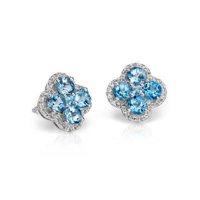 Blue Topaz Halo Clover Earrings In Sterling Silver 4mm