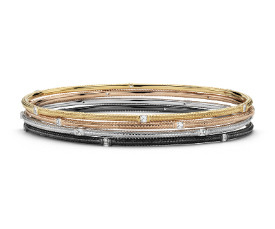 Brick Design Diamond Bangle Bracelets In 14k White Yellow
