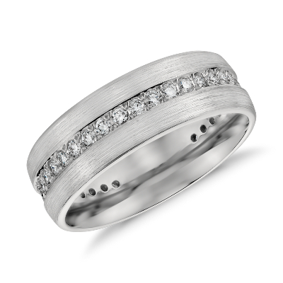 Brushed Diamond Eternity Mens Wedding Ring In Platinum 1