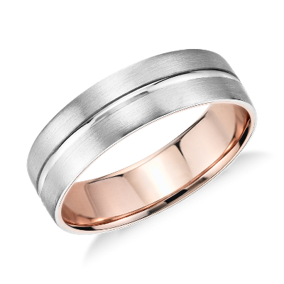Matte Inlay Wedding Ring In Platinum And 18k Rose Gold