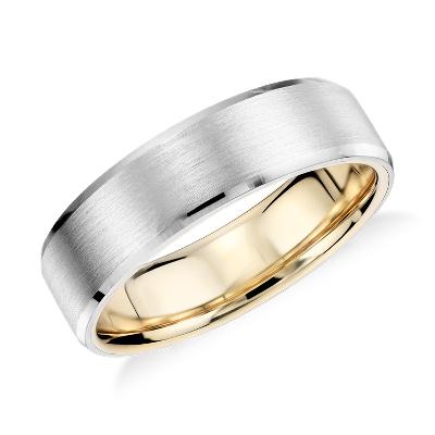Matte Beveled Edge Wedding Ring In Platinum And 18K Yellow
