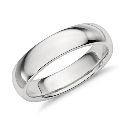 comfort fit wedding ring in platinum 5mm