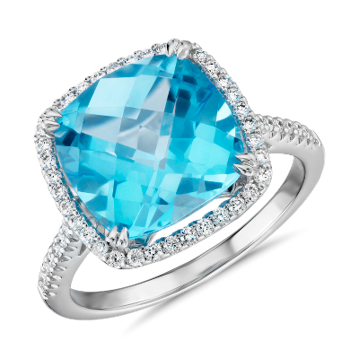 Cushion Cut Swiss Blue Topaz Diamond Halo Cocktail Ring In