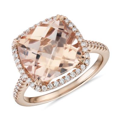 Cushion Cut Morganite Diamond Halo Cocktail Ring In 14k