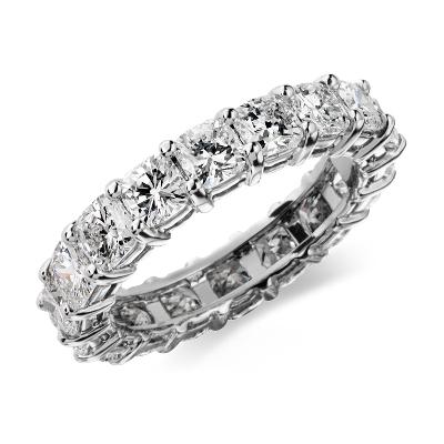 Cushion Cut Diamond Eternity Ring In Platinum 4 Ct Tw