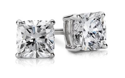 Cushion Diamond Stud Earrings In 14k White Gold 1 2 Ct
