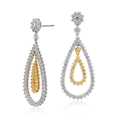 Pear Shape Diamond Dangle Earrings In 18k White And Yellow