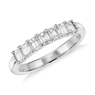 Seven Stone Emerald Cut Diamond Ring In 18k White Gold 1