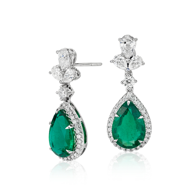 Emerald And Diamond Drop Earrings In 18k White Gold 47