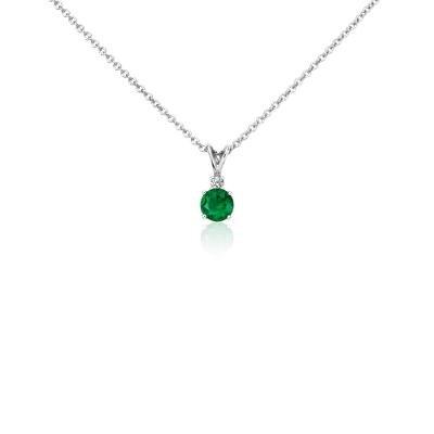 Emerald And Diamond Solitaire Pendant In 18k White Gold