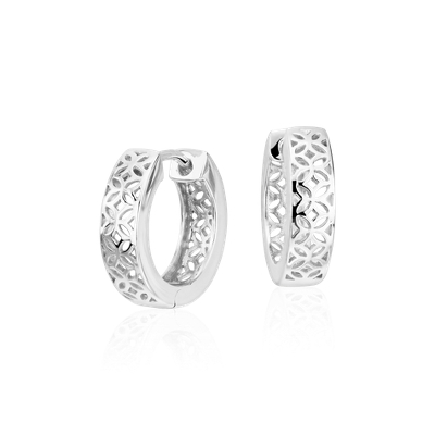 Floral Huggie Hoop Earrings In Sterling Silver 916