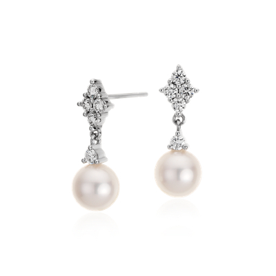 Freshwater Cultured Pearl And Diamond Drop Earrings In 14k White Gold 7mm Blue Nile