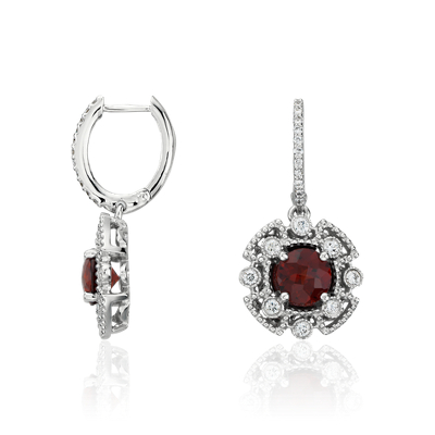 Garnet And Diamond Drop Earrings In 14k White Gold Blue Nile