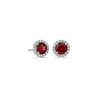 Garnet And Micropav 233 Diamond Stud Earrings In 18k White Gold 5mm Blue Nile