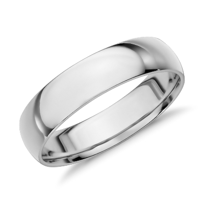 mid weight comfort fit wedding band in 14k white gold 5mm
