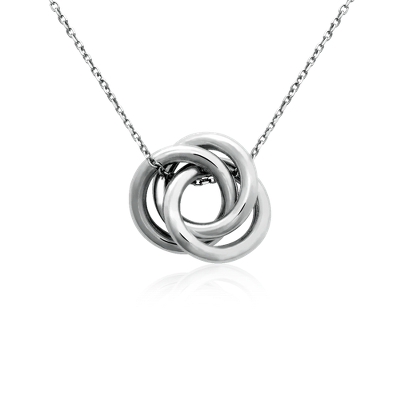 Three Diamond Ring Pendant Necklace