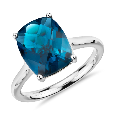 London Blue Topaz Cushion Cocktail Ring In 14k White Gold