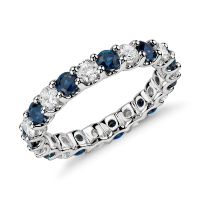 Luna Sapphire And Diamond Eternity Ring In Platinum 1 Ct