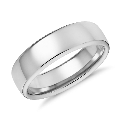 modern comfort fit wedding ring in 14k white gold 6 5mm